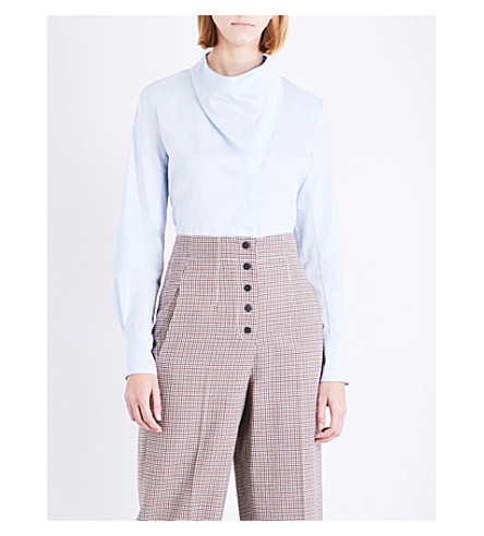 STELLA MCCARTNEY Damiane cotton-poplin shirt (Blue