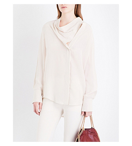 STELLA MCCARTNEY Cowl-neck silk shirt (Oat