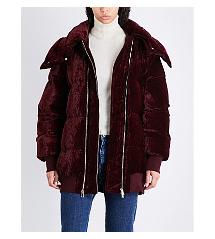STELLA MCCARTNEY Oversized velvet puffer jacket (Burgeny