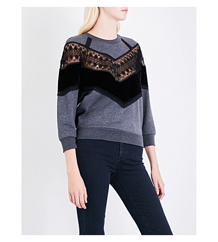 STELLA MCCARTNEY Lace-trim jersey sweatshirt (Dark+grey