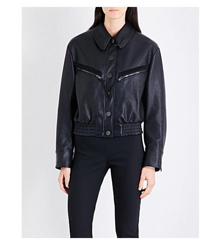 STELLA MCCARTNEY Pocket-detail cropped faux-leather jacket (Black