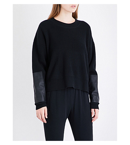 STELLA MCCARTNEY Faux-leather panelled wool jumper (Black