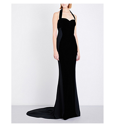 STELLA MCCARTNEY Halterneck crepe and velvet gown (Black
