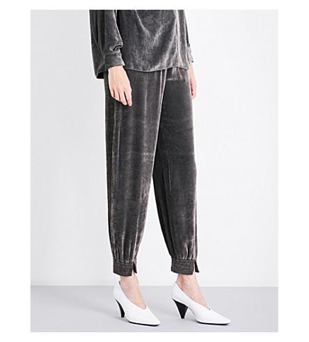 STELLA MCCARTNEY Farah high-rise velvet jogging bottoms (Grey