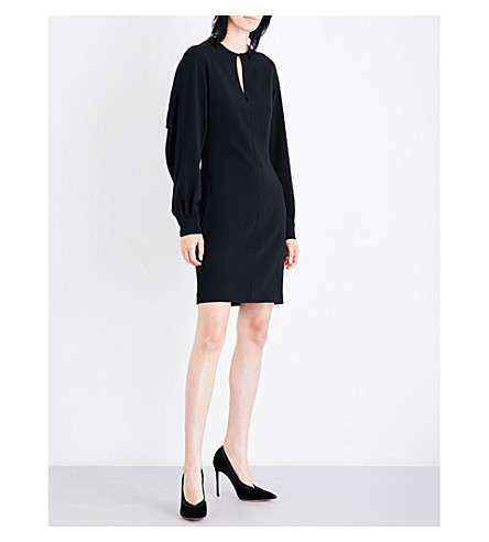 STELLA MCCARTNEY Draped-panel crepe mini dress (Black