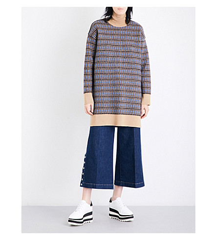 STELLA MCCARTNEY Turtleneck checked wool dress (Camel+blue/grey