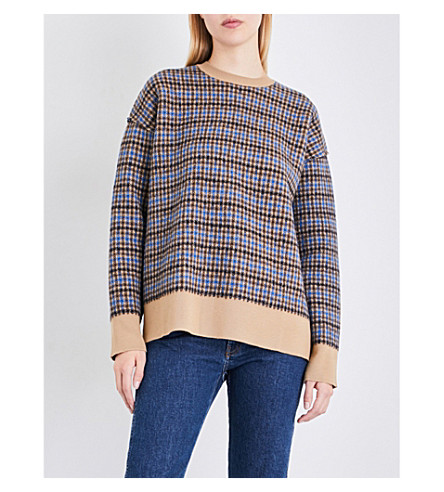 STELLA MCCARTNEY Oversized check wool jumper (Camel+blue/grey