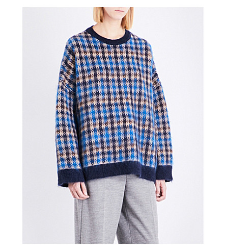 STELLA MCCARTNEY Oversized check wool-blend jumper (Blue check
