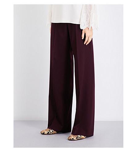 STELLA MCCARTNEY Wide high-rise wool trousers (Aubergine
