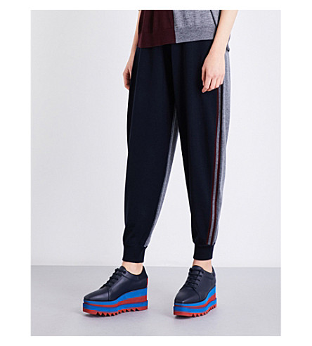 STELLA MCCARTNEY Contrast-panel skinny mid-rise wool jogging bottoms (Blue/grey