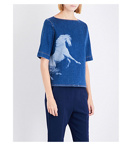 STELLA MCCARTNEY Horse-print denim top (Deep+blue