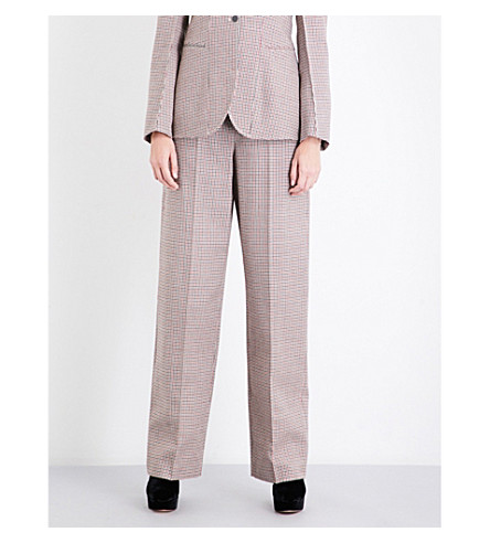 STELLA MCCARTNEY Houndstooth high-waisted wool trousers (Burgeny+check
