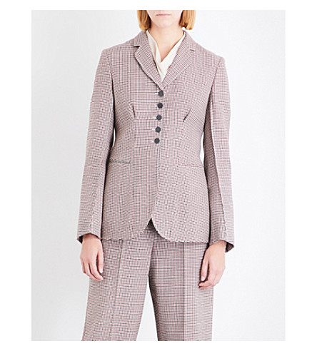 STELLA MCCARTNEY Houndstooth-pattern wool jacket (Burgeny+check