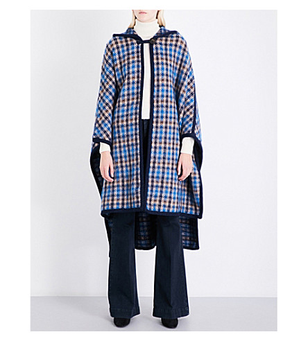 STELLA MCCARTNEY Hooded oversized check wool-blend cape (Blue check