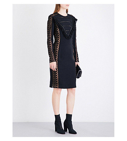 STELLA MCCARTNEY Ruffled stretch-crepe dress (Black