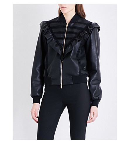 STELLA MCCARTNEY Frilled faux-leather bomber jacket (Black