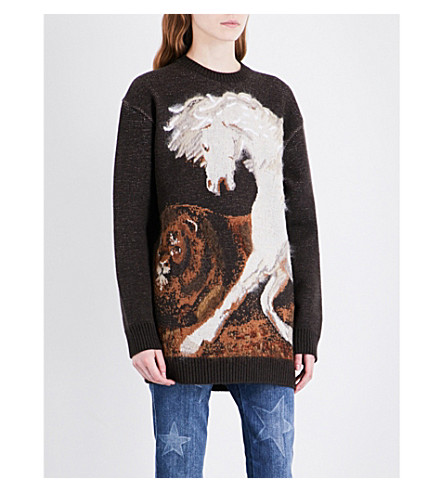 STELLA MCCARTNEY Horse-intarsia wool jumper (Multi