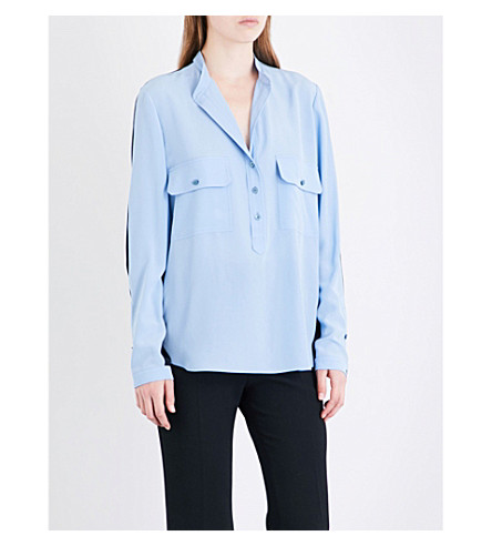 STELLA MCCARTNEY Estelle silk-crepe shirt (Light+blue