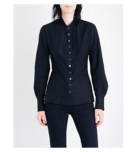 STELLA MCCARTNEY Shinny slim-fit cotton-poplin shirt (Ink