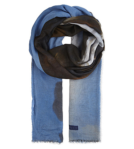 STELLA MCCARTNEY Silk and modal-blend horse print scarf (Multi