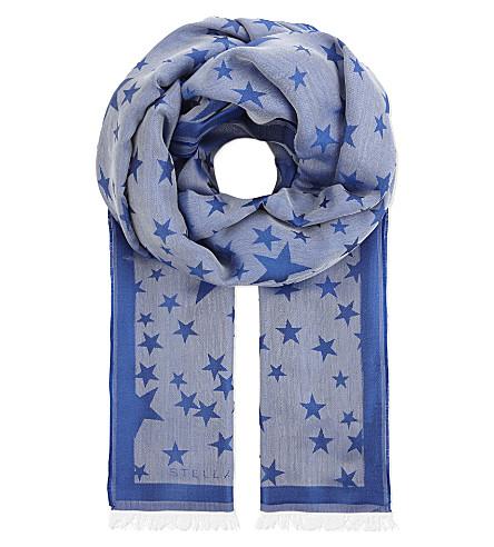 STELLA MCCARTNEY Star shine silk-blend scarf (Blue