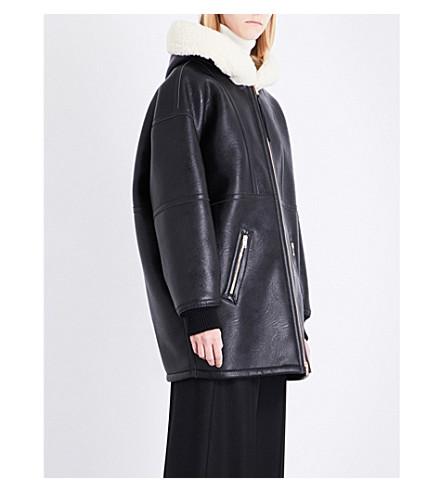 STELLA MCCARTNEY Oversized faux-shearling hood faux-leather coat (Black