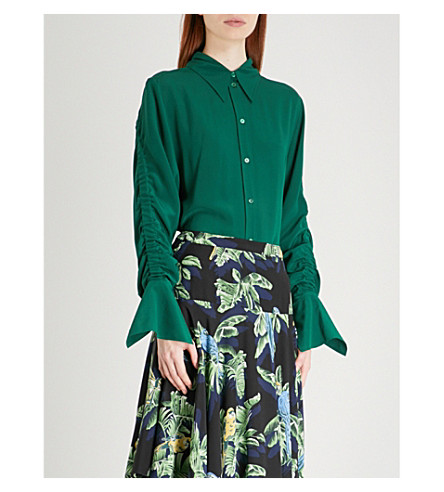 STELLA MCCARTNEY Ruched silk-crepe shirt (Green