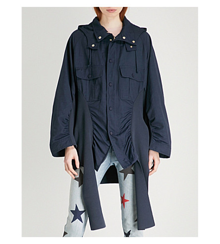 STELLA MCCARTNEY Ruched woven parka coat (Ink