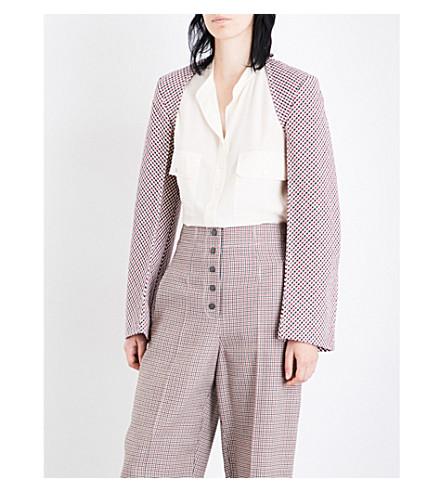 STELLA MCCARTNEY Buaro checked cotton-blend bolero jacket (Burgeny+check