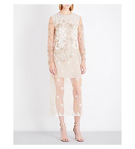 STELLA MCCARTNEY Medi embroidered mesh dress (Camel