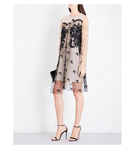 STELLA MCCARTNEY Floral-embroidered tulle dress (Camel