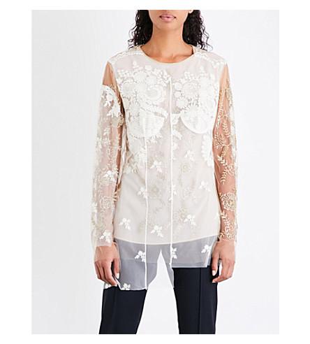 STELLA MCCARTNEY Floral-embellished tulle top (Camel