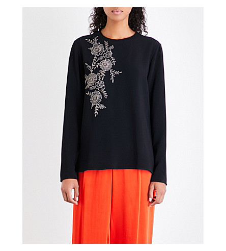 STELLA MCCARTNEY Floral-embellished stretch-crepe top (Black