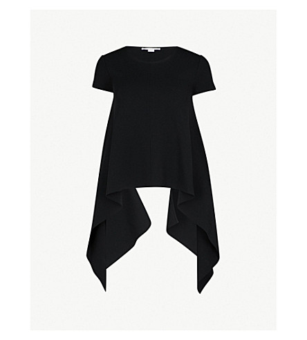 STELLA MCCARTNEY Asymmetric stretch-knit top (Black