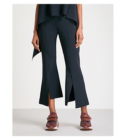 STELLA MCCARTNEY Kick-flare cropped stretch-knit trousers (Ink