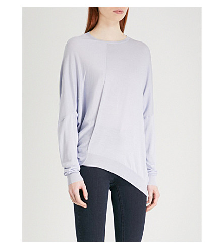 STELLA MCCARTNEY Asymmetric cotton and wool-blend jumper (Light+blue