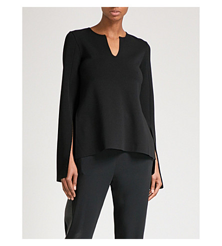 STELLA MCCARTNEY Split-sleeve stretch-knit top (Black