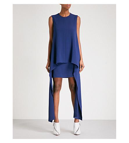 STELLA MCCARTNEY Tiered asymmetric crepe dress (Blue
