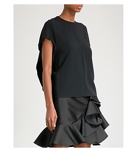 STELLA MCCARTNEY Open-back stretch-crepe top (Black
