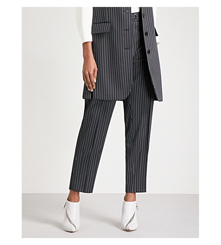 STELLA MCCARTNEY Pinstriped straight wool trousers (Ink