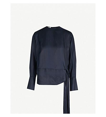 STELLA MCCARTNEY Striped self-tie silk blouse (Ink