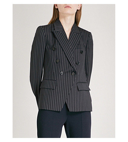 STELLA MCCARTNEY Pinstriped double-breasted wool blazer (Ink