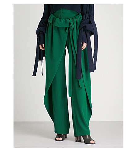 STELLA MCCARTNEY Draped-panel wide-leg silk-crepe trousers (Green
