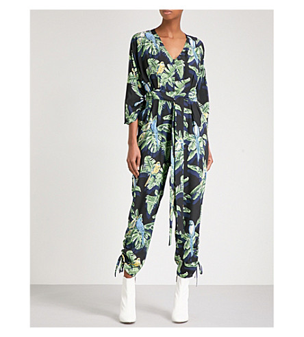 STELLA MCCARTNEY Paradise V-neck silk-crepe jumpsuit (Navy+par