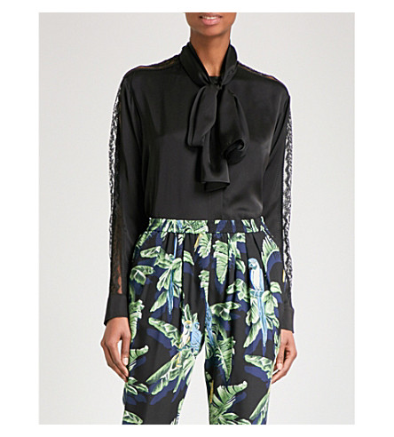 STELLA MCCARTNEY Lace-detailed silk shirt (Black