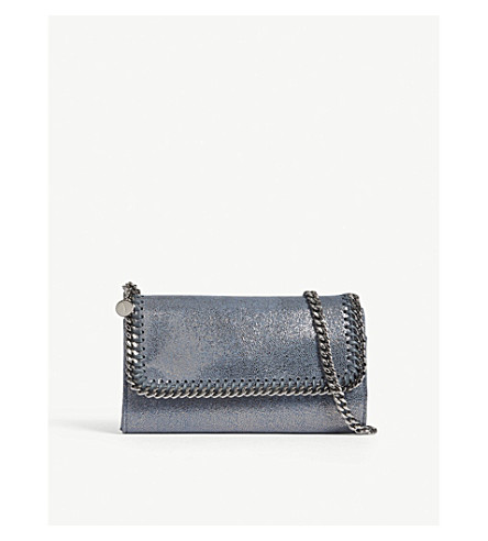 STELLA MCCARTNEY Falabella faux-suede cross-body bag (Blue+lag