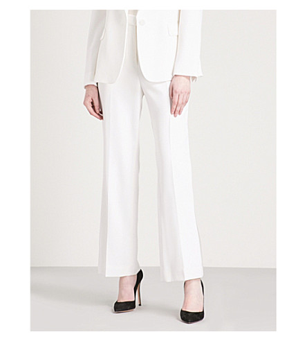 STELLA MCCARTNEY Wide high-rise wool tuxedo trousers (Ivory