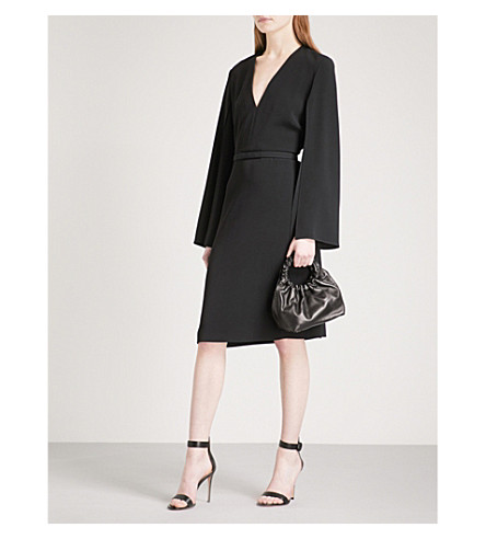 STELLA MCCARTNEY Flared-sleeve V-neck crepe dress (Black