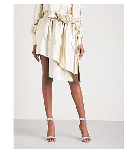 STELLA MCCARTNEY Ruffled asymmetric lamé skirt (Gold+met
