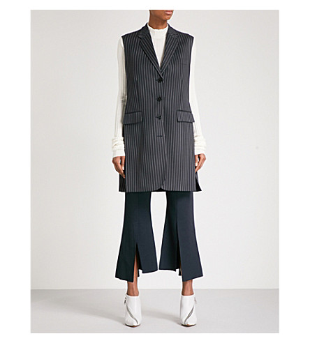 STELLA MCCARTNEY Pinstriped single-breasted wool-blend gilet (Ink